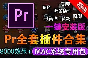【Pr插件合集】Mac系统一键安装抖音转场合集防抖降噪光效字幕文字预设汉化特效调色包2020版