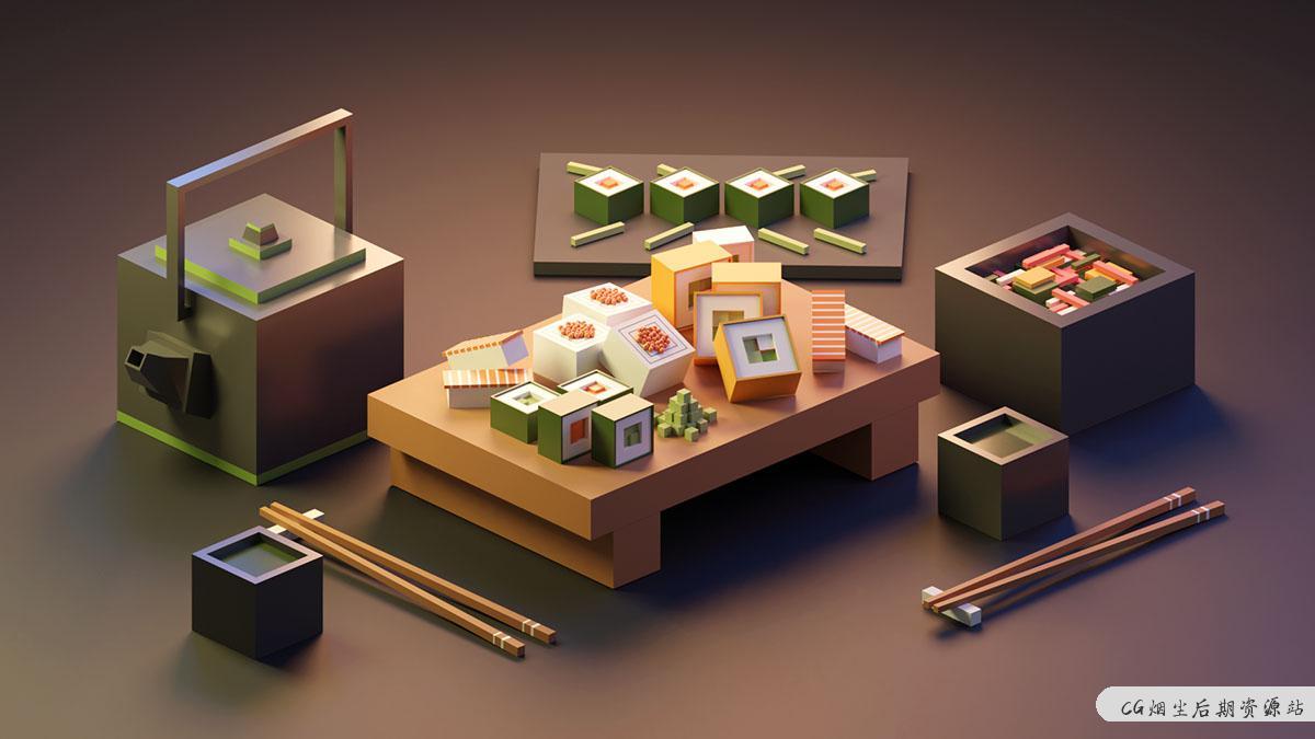 Blender 低多边形场景创建视频教程-成为2020年的3D插画家-CG烟尘后期资源站