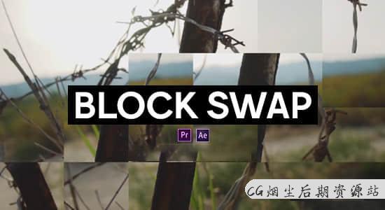中文汉化AE/PR插件-随机生成像素块视觉特效 Block Swap v1.0 Win破解版-CG烟尘后期资源站