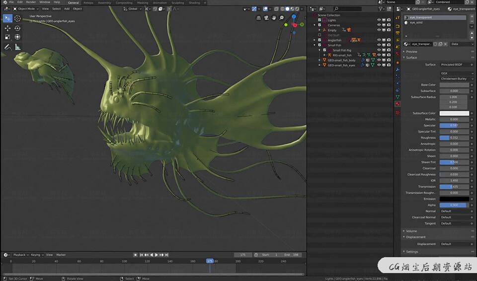 Blender教程-抽象唯美海底生物概念图设计教程 Blender Cloud – Anglerfish-CG烟尘后期资源站