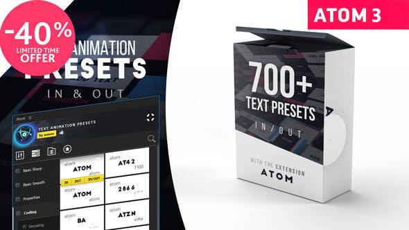 【AE扩展】700种文字标题动画预设 Text Presets for Atom-CG烟尘后期资源站