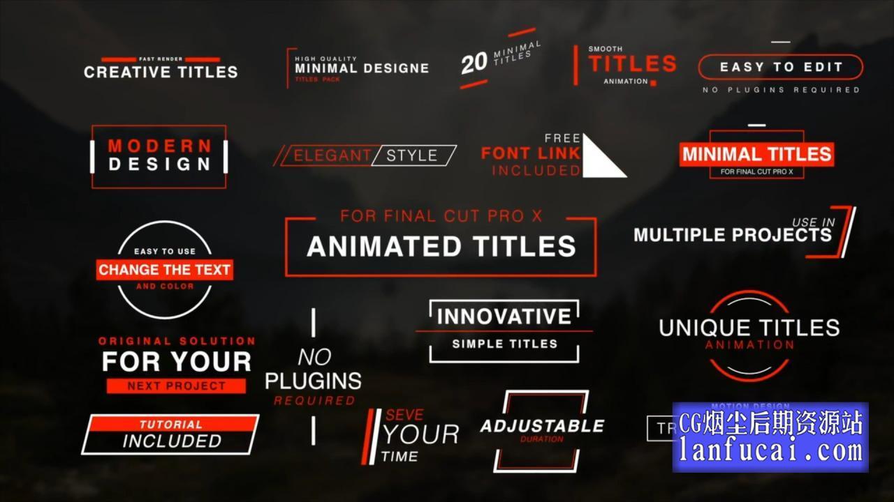 fcpx标题插件 20组简约标题字幕动画模板 介绍