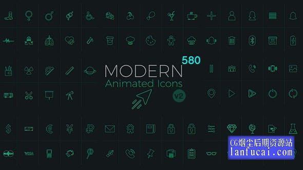 16224653998713.jpgAE模板-580个网络媒体生活购物食物器材工具箭头天气图标动画 Modern Animated Icons Library