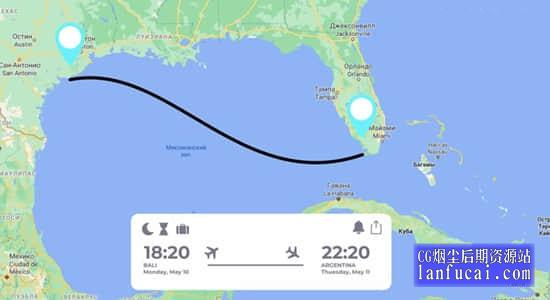 达芬奇模板-地图坐标定点连线导航路径动画 Map Route Animations