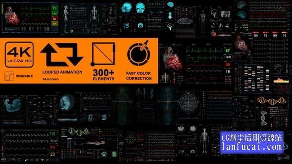 AE模板-300个科技感生物医疗人物DNA超声脑电图CT神经界面元素HUD动画包 Medical Pack 18 Screens